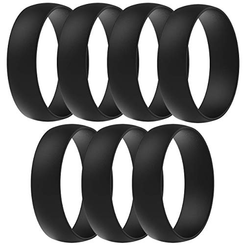 ThunderFit Silicone Wedding Ring for Men & Women - 7 Rings Rubber Engagement Bands 6mm Wide - 1.65mm Thick (15.5-16 (24.5mm))