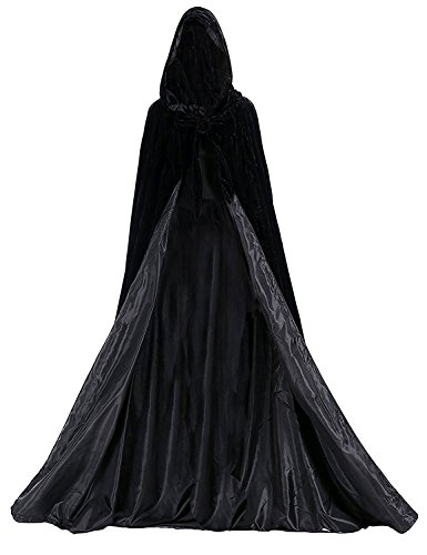 Aorme Halloween Hooded Cloaks Medieval Costumes Cosplay Wedding Capes Robe (Large, Black)