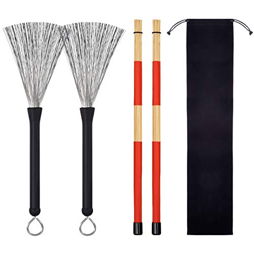 Hot Rods Drum Sticks Drum Wire Brushes Drum Brushes Drum Sticks Retractable Brushes Drums Sticks Drum Brushes Set for Jazz Acoustic Music Lover Gift Total 2 Pairs with Portable Storage Bag