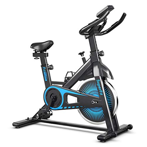 Goplus Indoor Cycling Bike, Silent Belt Drive Exercise Bike with Steel Flywheel, Phone Holder, Adjustable Seat and Handlebar, LCD Monitor, Heart Rate Monitor, Stationary Bicycle for Home Gym Workout