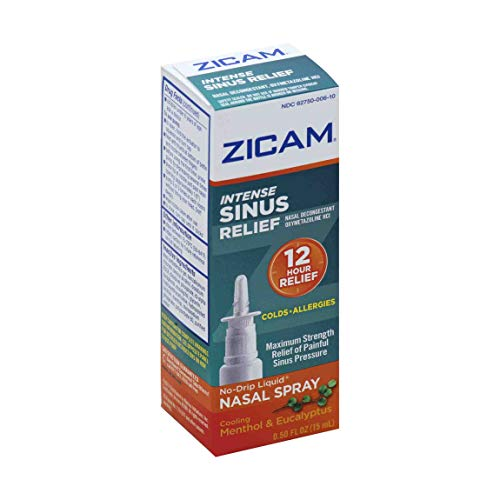 Zicam Intense Sinus Relief No-drip Liquid Nasal Spray with Cooling Menthol & Eucalyptus, Menthol/Eucalyptus, 0.5 Fl Oz