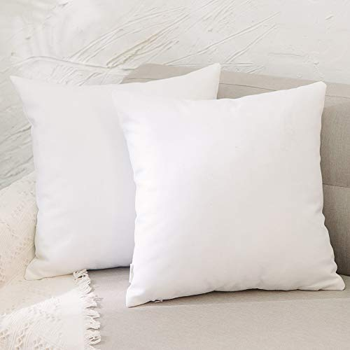 NATUS WEAVER 2 Pack Pure White Pillow Cover Faux Linen Square Decorative Throw Cushion Case Pillowcase with Smooth Hidden Zipper for Car 24' x 24'