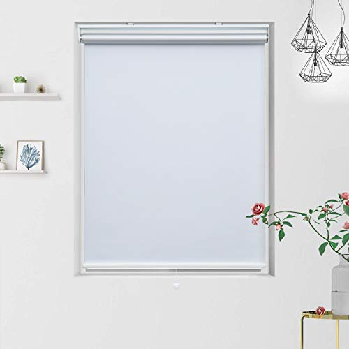 Grandekor Blackout Shades Blackout Blinds Cordless Shade Roller Shades for Windows, Window Blackout Shades Roller Blinds Blackout with Spring System White, 35'(W) x 72'(H)