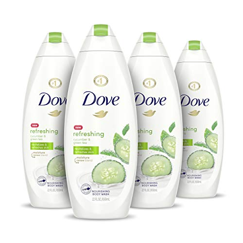 Dove go fresh Refreshing Body Wash Revitalizes and Refreshes Skin Cucumber and Green Tea Effectively Washes Away Bacteria While Nourishing Your Skin 22 oz, 4 Count
