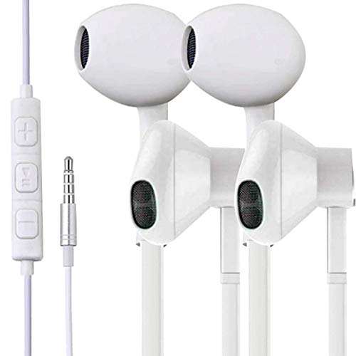 2 Pack Earphones with Microphone, Earbuds with Mic for Music and Calls fit's iPhone, Samsung, All Laptops and Tablets with 3.5 Jack