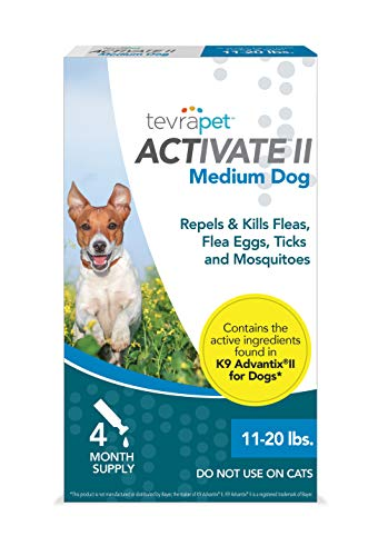 TevraPet Activate II Flea and Tick Prevention for Dogs – 4 Months Topical Flea and Tick Treatment and Control, 11-20 lbs