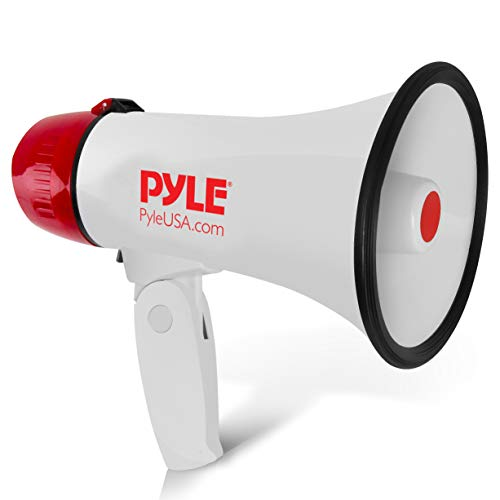 Pyle Megaphone Speaker PA Bullhorn - 20 Watts & Adjustable Vol Control w/ Built-in Siren & 800 Yard Range for Football, Baseball, Hockey, Cheerleading Fans & Coaches or for Safety Drills - PMP20