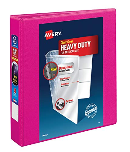 Avery Heavy Duty View 3 Ring Binder, 1.5' One Touch Slant Ring, Holds 8.5' x 11' Paper, 1 Pink Binder (79721)