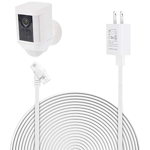 ALERTCAM Power Adapter for Ring Spotlight Cam Battery - Long and Flat 30 ft/9 m Weatherproof Outdoor Cable to Continuously Charge Your Home Security Camera (White)
