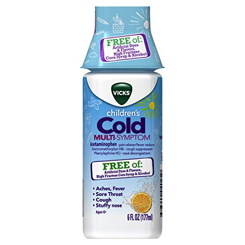 Vicks Children's, Cold Day Multi-Symptom Relief from Cough, Sore Throat, Fever, with Acetaminophen, Free of Artificial Dyes & Flavors, 6 FL OZ
