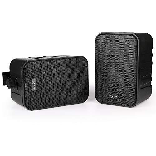 Bluetooth Speaker V4.1 AC Powered, Indoor/Outdoor Speakers Waterproof/Outside Patio Speakers, Durable for House Parties (Black-Pair) by Krohm