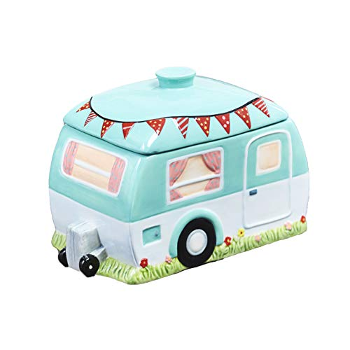 The Lakeside Collection Retro Style Camper Pet Treat Jar - Earthenware Food Container