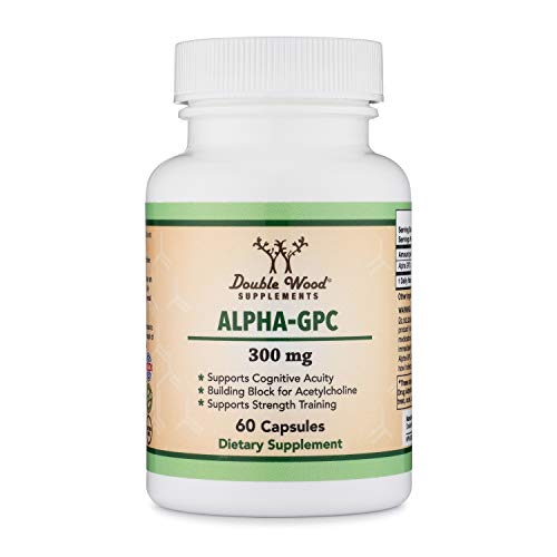 Alpha GPC Choline Capsules - 60 Count, 600mg Servings - Brain Booster Aid that Supports Focus, Memory, Motivation, and Energy - (Made in the USA) Brain Support Supplement by Double Wood Supplements