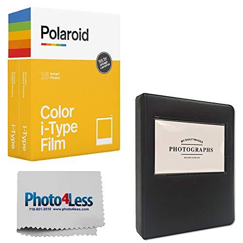 Polaroid Color Instant Film for i-Type - Double Pack (16 Sheets) + Black Album For Polaroid Film