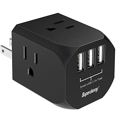 2 Prong Multi Outlet Extender with USB Charger SUPERDANNY Wall Plug Splitter with 4 AC and 3 USB Ports Extra-Wide Spaced Cube Adapter US Standard for Cruise Home Office Hotel Dorm Black