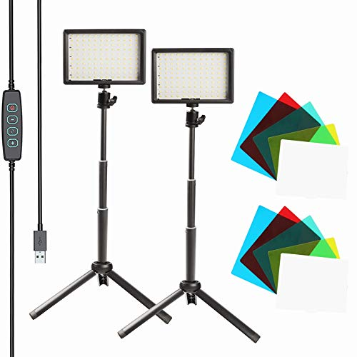 KEAYEO 2-Pack 7' Portable Photography Video Light Kit Dimmable 5800K 120 Lamp Beads Super Bright LED Fill Light with Tripod Stand and 5 Color Filters for Meeting Table Top Photo Video Studio Shooting