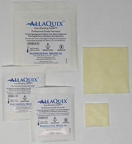 Combo Pack - AllaQuix Stop Bleeding Gauze - Include 3 Gauze Pads (2 Large (2-inch) and 1 XL (4-Inch)) Professional-Grade First-Aid Hemostatic Gauze (Blood Clotting Bandage)