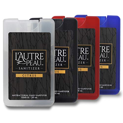 Antibacterial Travel Hand Sanitizer Spray with Aloe Vera by L'AUTRE PEAU - Unique Flat Credit Card Shape - Citrus Scented Mini Pocket Size (4 Pack - 20ML, Frost,Black,Red,Blue)