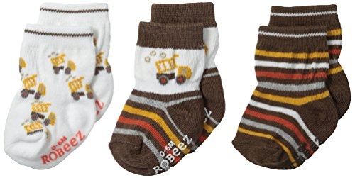 Robeez Baby Boys' 3 Pair Socks, Busy Lofty - Brown, 0-6 Months