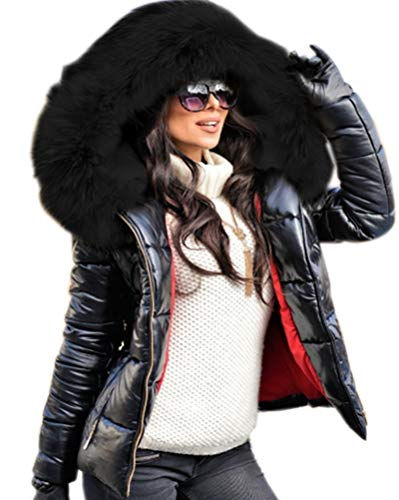Aofur Womens Ladies Quilted Winter Coat Fur Collar Hooded Down Jacket Parka Outerwear (XX-Large, Black_Black Fur)