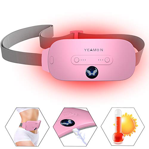 Menstrual Heating Pad, Electric Cramp Relief Waist Belt Device,Fast Heating Pad with 3 Heat Levels and 3 Vibration Massage Modes, Menstrual/Period,Back or Belly Pain Relief for Women and Girl
