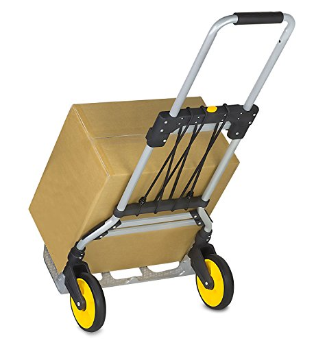 Mount-It! Folding Hand Truck and Dolly, 264 Lb Capacity Heavy-Duty Luggage Trolley Cart With Telescoping Handle and Rubber Wheels, Silver, Black, Yellow,