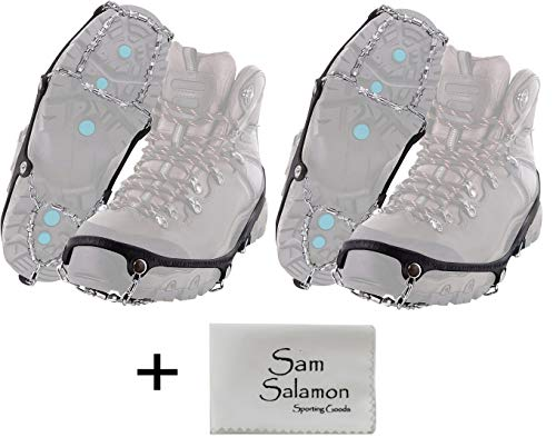 Yaktrax Diamond Grip All-Surface Traction Cleats for Walking on Ice and Snow(2 Pair) w/Micro Sam Salamon Cloth