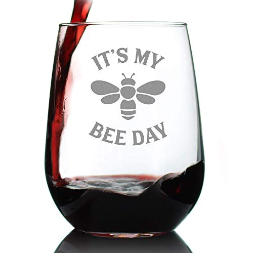 Bee Day - Funny Birthday Stemless Wine Glass for Women and Men - Bee Gifts - Bumblebee Bday Party Decor - Large