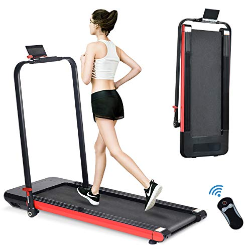 BiFanuo 2 in 1 Folding Treadmill, Smart Walking Running Machine with Bluetooth Audio Speakers, Installation-Free,Under Desk Treadmill for Home/Office Gym Cardio Fitness(Red)