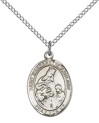 F A Dumont Sterling Silver St. Margaret of Scotland Pendant with 18' Stainless Steel Lite Curb Chain. Patron Saint of Widows/Death of Children