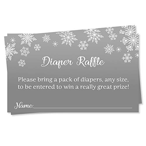 Winter Wonderland Diaper Raffle Ticket Baby Shower Grey Gray Snowflakes Diaper Wipes Raffle Ticket Insert Request Prize It's a Little Snowflake Its Cold Outside Snowy Snow Snowing (25 Count)