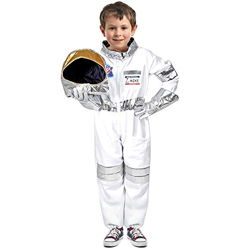 Children's Astronauts Costume Space Pretend Dress up Role Play Set for Kids Boys Girls with a Free America Flag Pin White