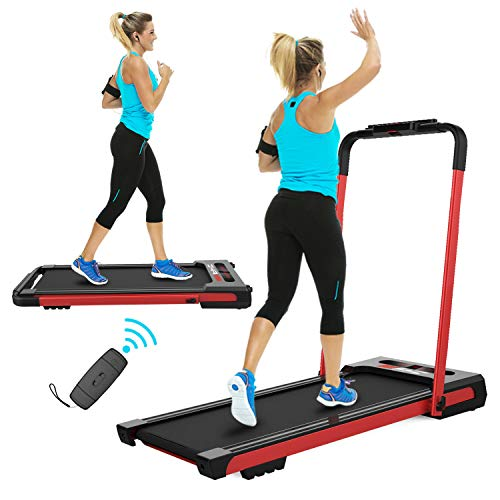 FYC 2 in 1 Folding Treadmill for Home Under Desk 2.5HP Electric Treadmill Workout Foldable Portable Compact Running Machine w/Remote Control 5 Modes&12 Programs for Exercise, Installation-Free