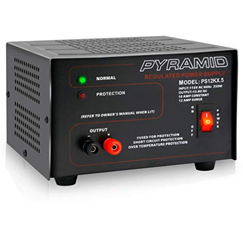 Pyramid Universal Compact Bench Power Supply - 10 Amp Linear Regulated Home Lab Benchtop AC-to-DC 12V Converter w/ 13.8 Volt DC 115V AC 250 Watt Input, Screw Type Terminals, Cooling Fan, LED