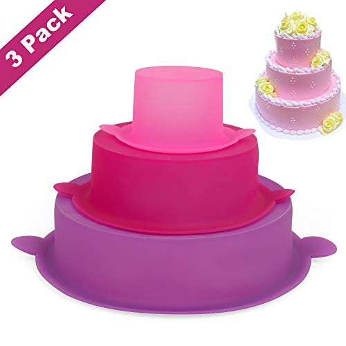Round Cake Pan,Set of 3,Nonstick Silicone Baking Mold,BPA Free, Cake Mold for baby showers,Christmas parties,Birthday Cake
