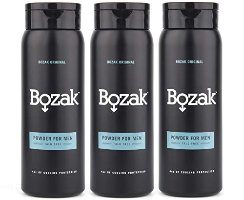 Bozak Cooling Body and Foot Powder for Men – Talc Free, Antifungal, Jock Itch Defense, Deodorant, Stops Chafing, Absorbs Sweat, and Keeps Skin Dry – with Menthol (4 oz.) – 3 Pack