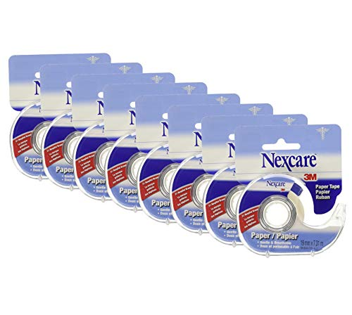 Nexcare Gentle Paper First Aid Tape with Dispenser, 3/4 in x 8 yds, Pack of 8
