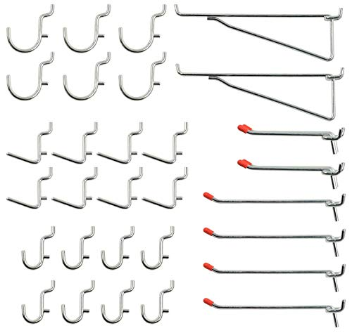 Wellmax 30pc Heavy Duty Pegboard Hooks Set, Peg Board Hook Assortment and Accessories for Tools, Crafts, peg Boards and pegs attachments. Fits 1/4 inch Peg Holes