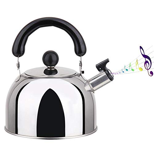 leveraYo Stovetop Induction Whistling Kettle, Top Whistling Tea Kettle-Surgical Stainless Steel Teakettle Teapot, 2L Closed Black Handle, for Induction Cookers Gas Stoves