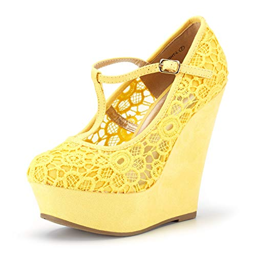 DREAM PAIRS Wedge-Height-l Yellow Lace Crochet Mary Jane Platform Wedges Shoes for Women Size 6.5 B(M) US