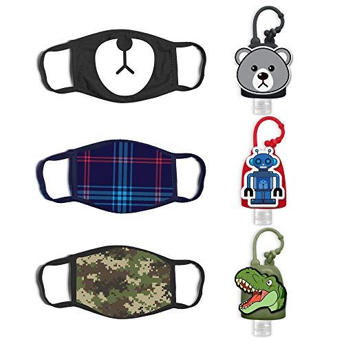ABG Accessories 3-Pack Kids Face Mask and Hand Sanitizer Holder Keychain (1 Fl Oz. Flip Cap Reusable Empty Bottles), Bear Design, Boys 4-10