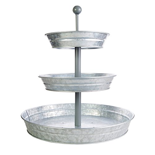3 Tier Serving Tray (Large 17' Base) Rustic, Decorative Galvanized Metal | Home Farmhouse Décor | Coffee, Margarita Bar, Party Appetizers, Cupcake Stand | Indoor, Outdoor Use | Bison Home Goods