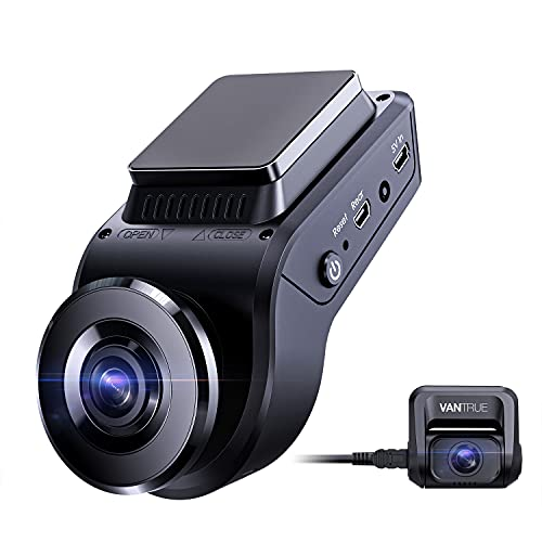 Vantrue S1 4k Hidden Dash Cam Built in GPS Speed, Dual 1080P Front and Rear Car Camera with 24/7 Parking Mode, Sony Night Vision, Single Front 60fps, Capacitor, G-Sensor, Support 256GB Max for Trucks