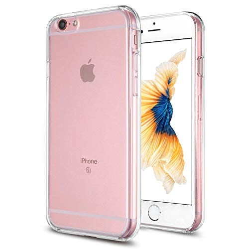 TENOC Phone Case Compatible for Apple iPhone 6S Plus and iPhone 6 Plus 5.5 Inch, Crystal Clear Ultra Slim Cases Soft TPU Cover Full Protective Bumper