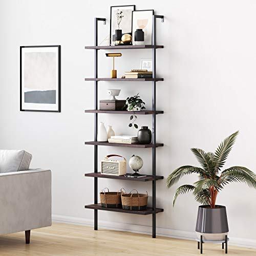 Nathan James Theo 6-Shelf Tall Bookcase, Wall Mount Bookshelf with Natural Wood Finish and Industrial Metal Frame, Nutmeg/Matte Black