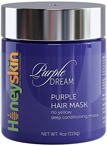 Purple Hair Mask for Blonde, Silver or Platinum Color - Deep Toner and Conditioner for Gray, Bleached, Highlighted and Color Treated Hair - Natural Blue Masque for Violet and Silver Tones (4oz)