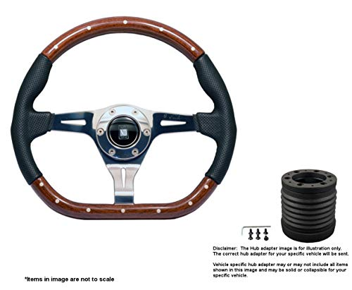 Nardi Kallista 350mm (13.78 Inches) Wood Steering Wheel w/Polished Spokes and MOMO Hub Adapter for Mitsubishi Evo 8-9 Part # 5055.35.3000 + 6116