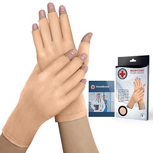 Doctor Developed Nude Arthritis Gloves / Skin Gloves and Doctor Written Handbook - for Arthritis, Raynauds Disease & Carpal Tunnel (One pair) (Open-fingertips, Medium)