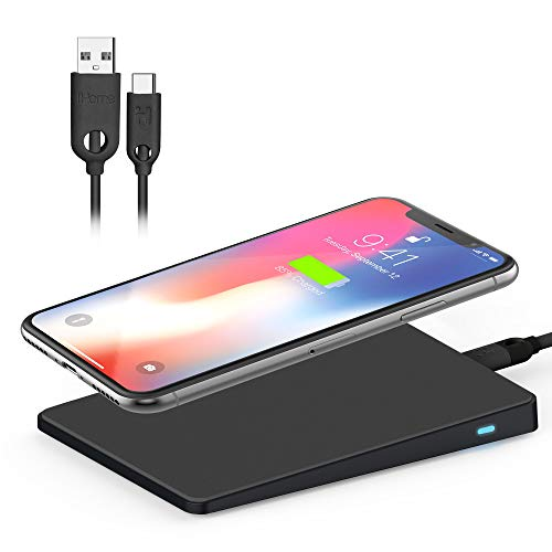 iHome Wireless Charging Pad: Qi Fast Charger: 7.5W for iPhone 12, 12 Pro, 12 Pro Max, 12 Mini, 11, 11 Pro, 11 Pro Max, XR, Xs Max, XS, X, or 10W Galaxy S10 S9, Note 10 Note 9 (Black)