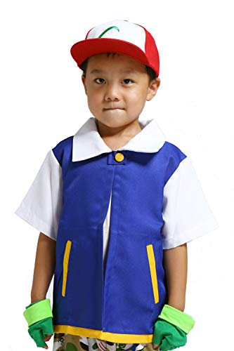 LAYSHOW Anime Trainer Costume Hoodie Jacket Shirt Gloves Hat, Blue, Size Large
